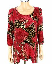 CHICO'S Top Shirt SIZE 2 LARGE 12-14 Red Lace Print Animal Leopard Spots Blouse