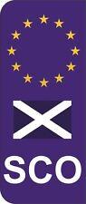 Scotland SCO Flag EU Car Number Plate Domed Sticker Decal (Pack of 2)