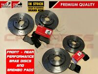 FOR NISSAN 350z 350 z G35 FRONT REAR DRILLED GROOVED BRAKE DISCS BREMBO PADS