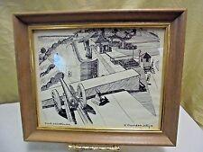 "VTG R. David McIntyre Etching Print Michigan ""Fort Mackinac"" Island MI 12x10"