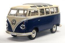 NEU: VW Bus Bulli T1 (Samba) 1:24 blau Modellauto ca. 17,5cm KINSMART Neuware!