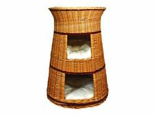 Cat Bed Wicker Oval 3 Tier Basket House Hand Crafted Two Beige Cushions Provided