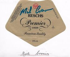MICK CRONIN ~ NSW RUGBY LEAGUE GREAT ~ HAND SIGNED BEER LABEL ~RESCHS PREMIER