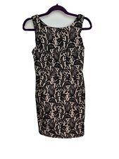 Topshop Ladies Dress Size 10 Black Beige Floral Lace Party Evening