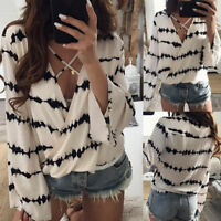 Womens Loose Long Bell Sleeve V Neck Striped Tops Chiffon Casual Blouse T Shirts