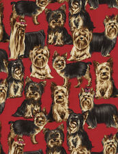 Yorkie Dogs Yorkshire Terrier Puppies Red Timeless Treasures #6411 By the Yard