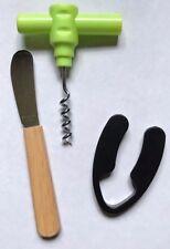 Travel Set Corkscrew, Cheese Knife, Wine Bottle Foil Cutter ~ Bundle of 3 Items