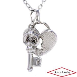 Italian 10K Gold Heart Locket & Key Pendant Chain 26 Long Necklace 7.2 Grams NR