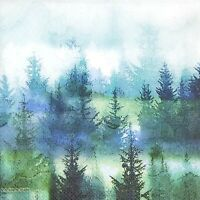 3x Single SMALL Paper Napkins For Decoupage Craft Misty Fir Forest Blue Fog S084