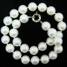 """10mm White South Sea Shell Pearl Round Beads Necklace 18"""" AAA"""