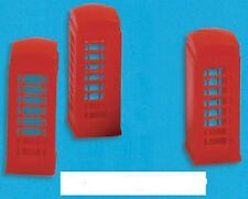 Modelscene 5190 - 3 x Red Telephone Boxes 'N' Gauge Plastic Kit - 1st Class Post