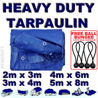 4 Sizes Of Heavy Duty Tarpaulin Cover Ground Camping tarp Sheet + BUNGEE BALLS