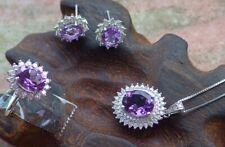 1set Certified Natural Amethyst Silver 925 Cabochon Earring Necklace Ring 456280
