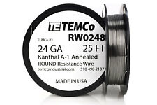 TEMCo Kanthal A1 wire 24 Gauge 25 Ft Resistance AWG A-1 ga