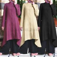 UK Womens Long Sleeve Plain Irregular Hem Robe Kaftan Casual Loose Abaya Dress