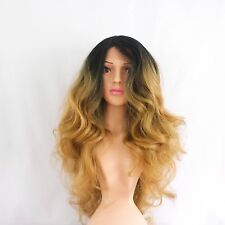 Synthetic Lace Front Long Curly Dark Roots/Blonde Ombre Wig 26""