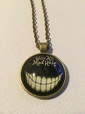 Vintage Pieces - Bronze Necklace Glass Cameo - Alice in Wonderland We're All Mad