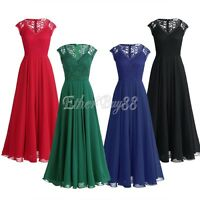 Women Long Chiffon Evening Formal Party Cocktail Bridesmaid Prom Gown Lace Dress