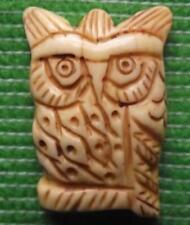 Japanese  Carved Scrimshaw Netsuke Bovine Bos Taurus Bone Owl Bird of Prey