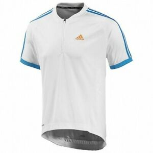 NEW MEN WHITE ADIDAS CYCLING CYCLISMO SHIRT JERSEY MAILLOT MAGLIA MAILLOT SIZE S