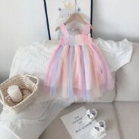 Toddler Kids Baby Girls Sleeveless Solid Tulle Skirt Floral Party Princess Dress