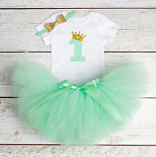 1st Birthday Baby Girl Bodysuit Tutu & Headband 3 Piece Mint Gold Outfit NEW