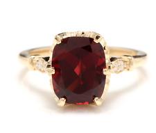 3.68 Carats Natural Garnet and Diamond 14K Solid Yellow Gold Ring