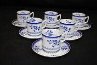 Set 6 Copeland Spode Blue Gloucester Fine Stone China Demitasse Cups + Saucer