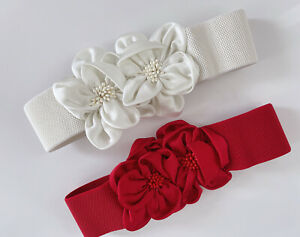 Women Satin Bow retro Floral Flower Elastic Dress Waist Band Stretchy Belt
