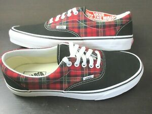 Vans Mens Era Tartan Pack Black Red Plaid Canvas Suede Skate shoes Size 10 NWT