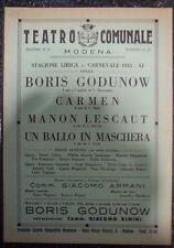 Teatro comunale Modena. Stagione Lirica: Carnevale 1933. 8 pp ill. in nero.