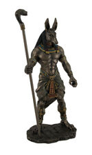 10.5 Inch Tall Egyptian God Anubis Holding Cobra Head Scepter Statue