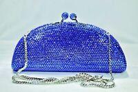 Fully Crystallized Evening Bag Purse Clutch Sapphire Blue with Swarovski Crystal