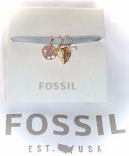 NWT $28 FOSSIL - MICRO CHARM SET...SHELL/PEARL/MOP DISC ON SATIN RIBBON BRACELET