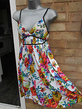 H&M DIVIDED ladies women multicoloured summer floral dress size 8 S beach casual
