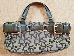DKNY grab bag brown canvas and leather trim medium handbag used magnetic closure