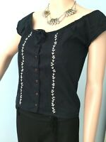 Embroidered Black Free People Top Button Front Boho Chic Hippy Tie Front S
