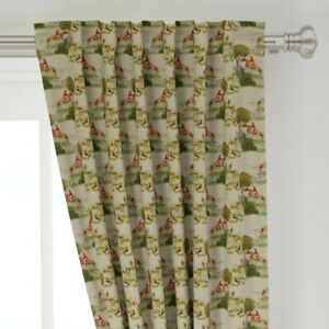 """Crewel Needlepoint Landscape Beagle Foxhound 50"""" Wide Curtain Panel by Roostery"""