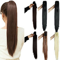 Straight 100% Remy human hair claw clip 100% real human hair ponytail extension