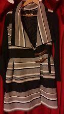 KAREN MILLEN Wool Striped jacket Coat UK size 10 12 fit & flare blanket belted