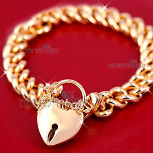 18K GOLD FILLED PADLOCK LOVE HEART SOLID CUBAN CHUNKY CURB WOMEN BANGLE BRACELET
