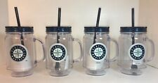 (4) SEATTLE MARINERS PLASTIC 20 oz MASON JAR TUMBLER MUGS CUP/GLASS +LID & STRAW