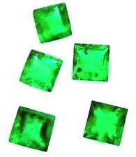 NATURAL PRINCESS-CUT GREEN EMERALD TOP GREEN COLOMBIAN LOOSE GEMSTONES 5PCS