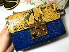 QUIRKY CHIC Blue Yellow Snake Skin Chain Women Shoulder Cross-Body Leather Bag