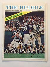 Vintage 1969 THE HUDDLE Program, Baltimore Colts vs Los Angeles Rams-J. Unitas