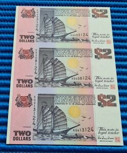 Uncut Sheet 3X Singapore Ship Series $2 Commemorative Note KQ 403124 (NO FOLDER)