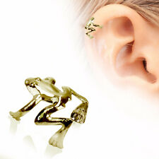 "Antique Gold Plated Tree Frog Fake Cartilage Ear Cuff (""Default Title"", Gold)"