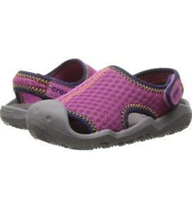 Crocs Swiftwater Mesh Water Sandals Shoe Dual Comfort Girls Magenta Pink Sz 3