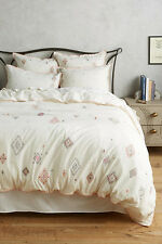 Anthropologie Embroidered Palermo Queen Duvet cover with 4 Shams