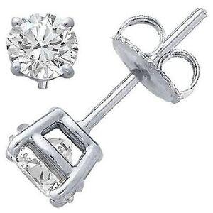 1 Pair Boys Sterling Silver Stud Earrings Round Cubic Zirconia CZ Ear Studs 6mm